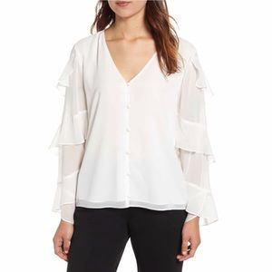 Vince Camuto Tiered Sleeve Chiffon Blouse Sz S